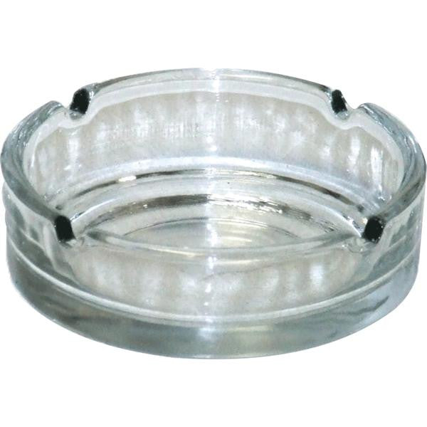 10cm GLASS ASHTRAY DEEP CL