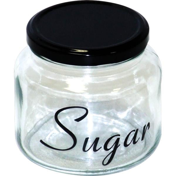 500ml SUGAR JAR & BLK LID