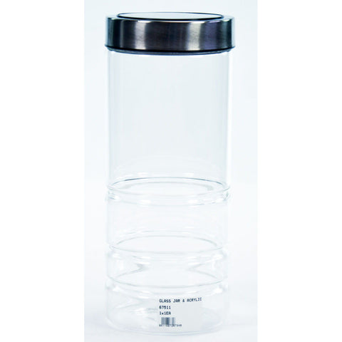 GLASS JAR & ACRYLIC LID BLK 2lt