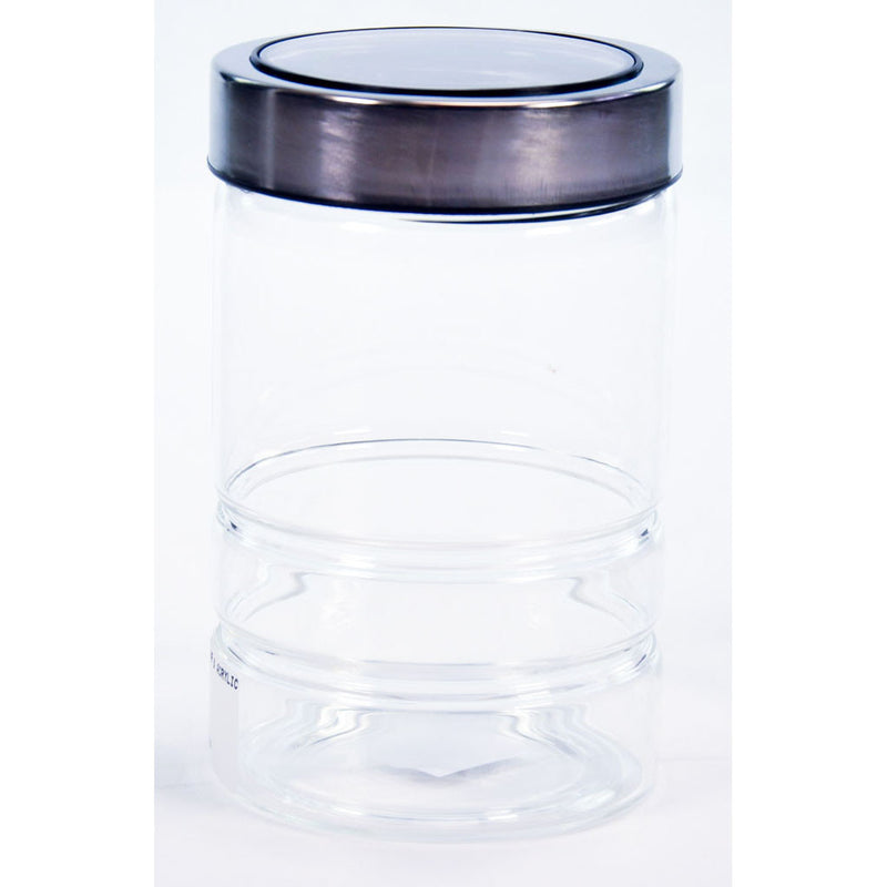 GLASS JAR & ACRYLIC LID BLK 1.5lt