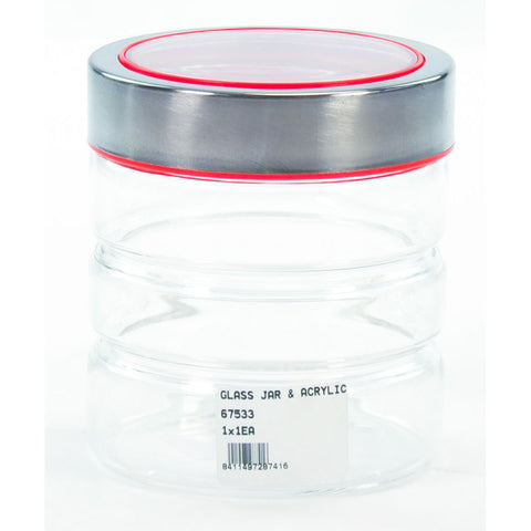 GLASS JAR & ACRYLIC LID RED 80ml