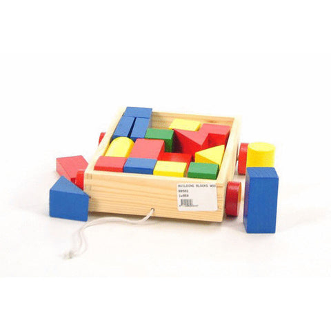 BUILDING BLOCKS WOOD 25pc IN WOODEN CART