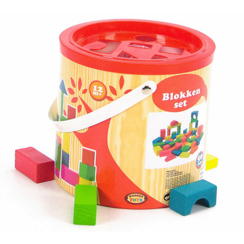 BLOCKS WOOD 50pc SET IN BUCKET