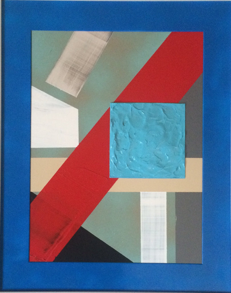 """Blue Square 2"" 16"" W x 20"" H Acrylic Painting"
