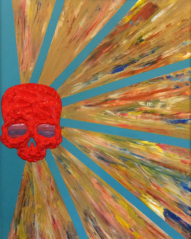 """War Bonnet #3"" 16"" W x 20"" H Acrylic Painting"