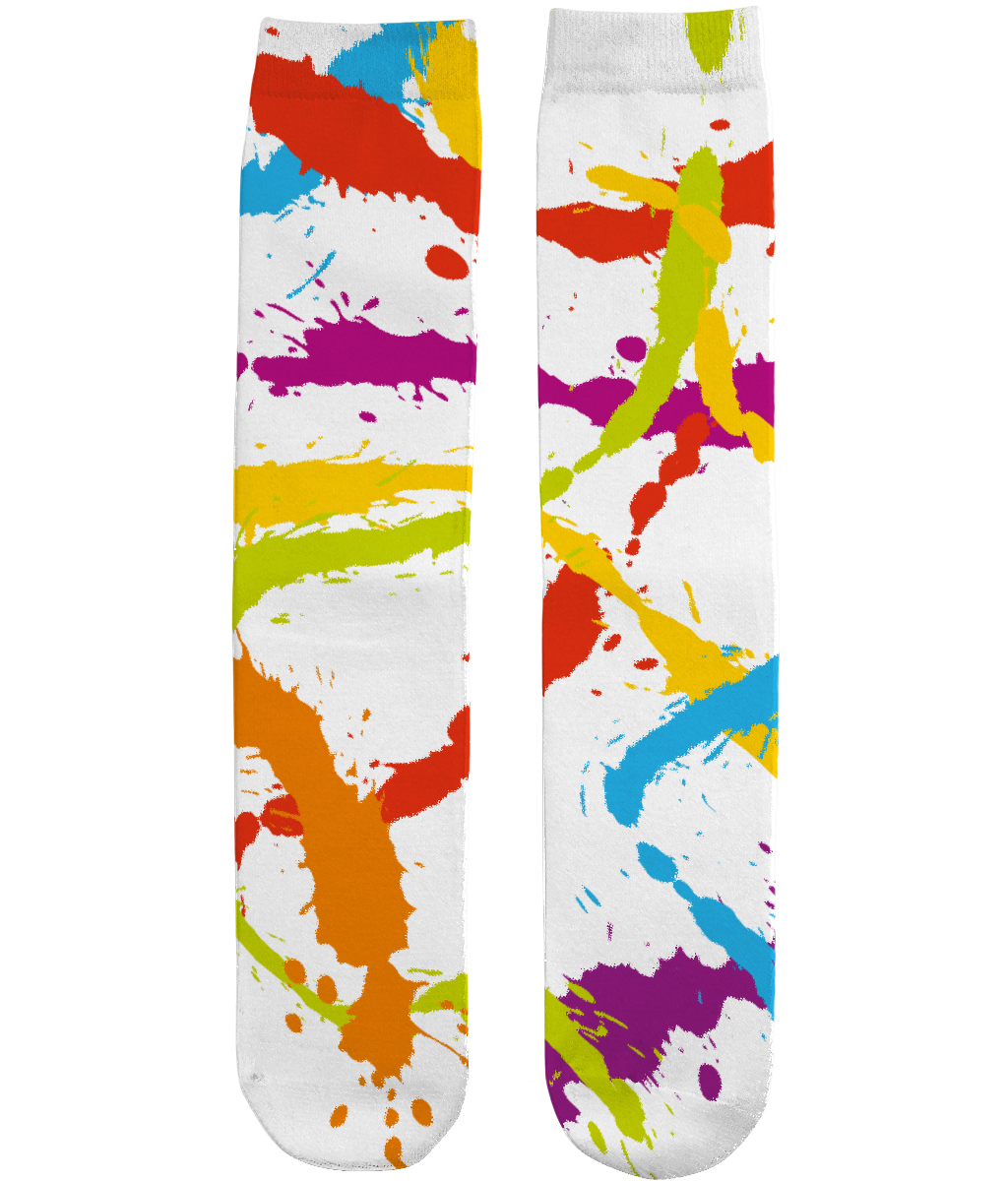 Splattered Rainbow [WHITE] - Unisex Sublimation Tube Socks by Daniel Bevis