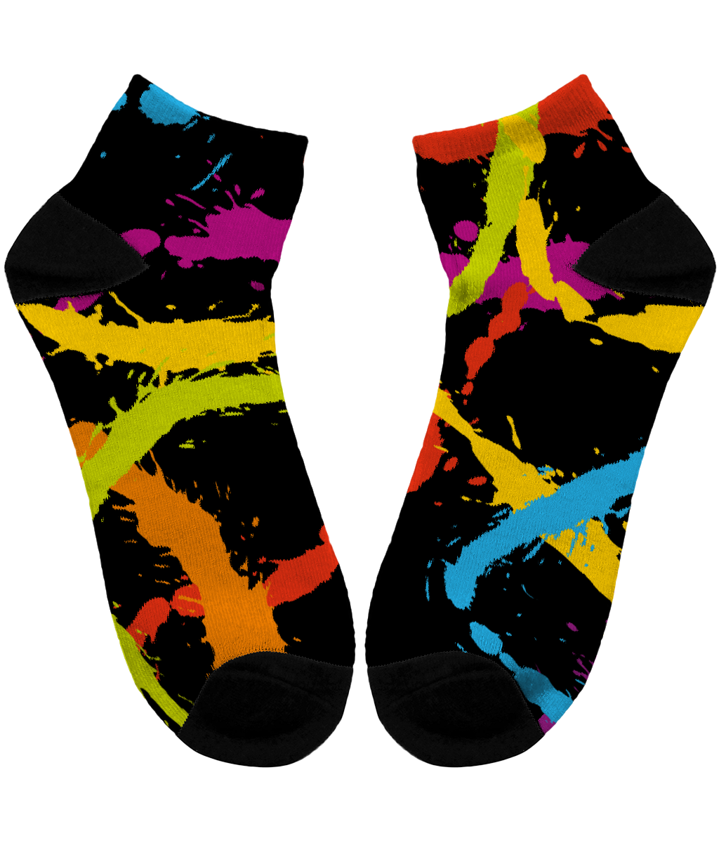 Splattered Rainbow [BLACK] - Unisex Sublimation Tube Socks by Daniel Bevis
