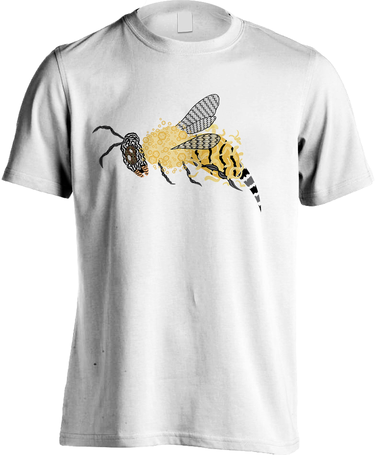 Abstract Bee - White Men's T-Shirts by Daniel Bevis