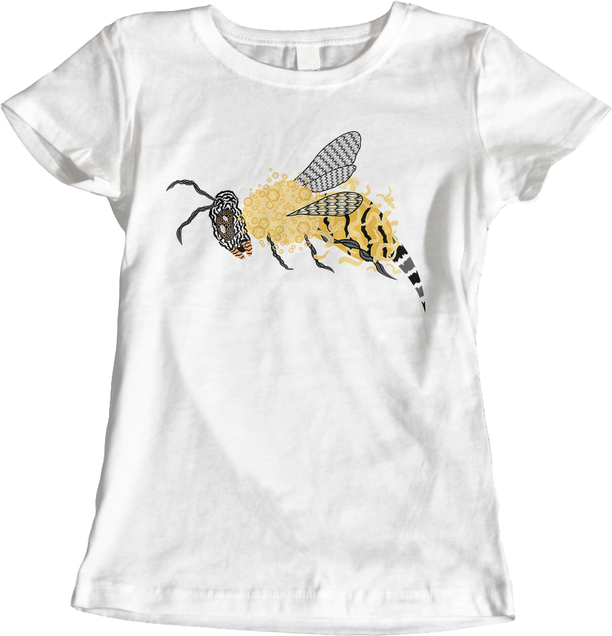Abstract Bee - White Women's T-Shirts by Daniel Bevis