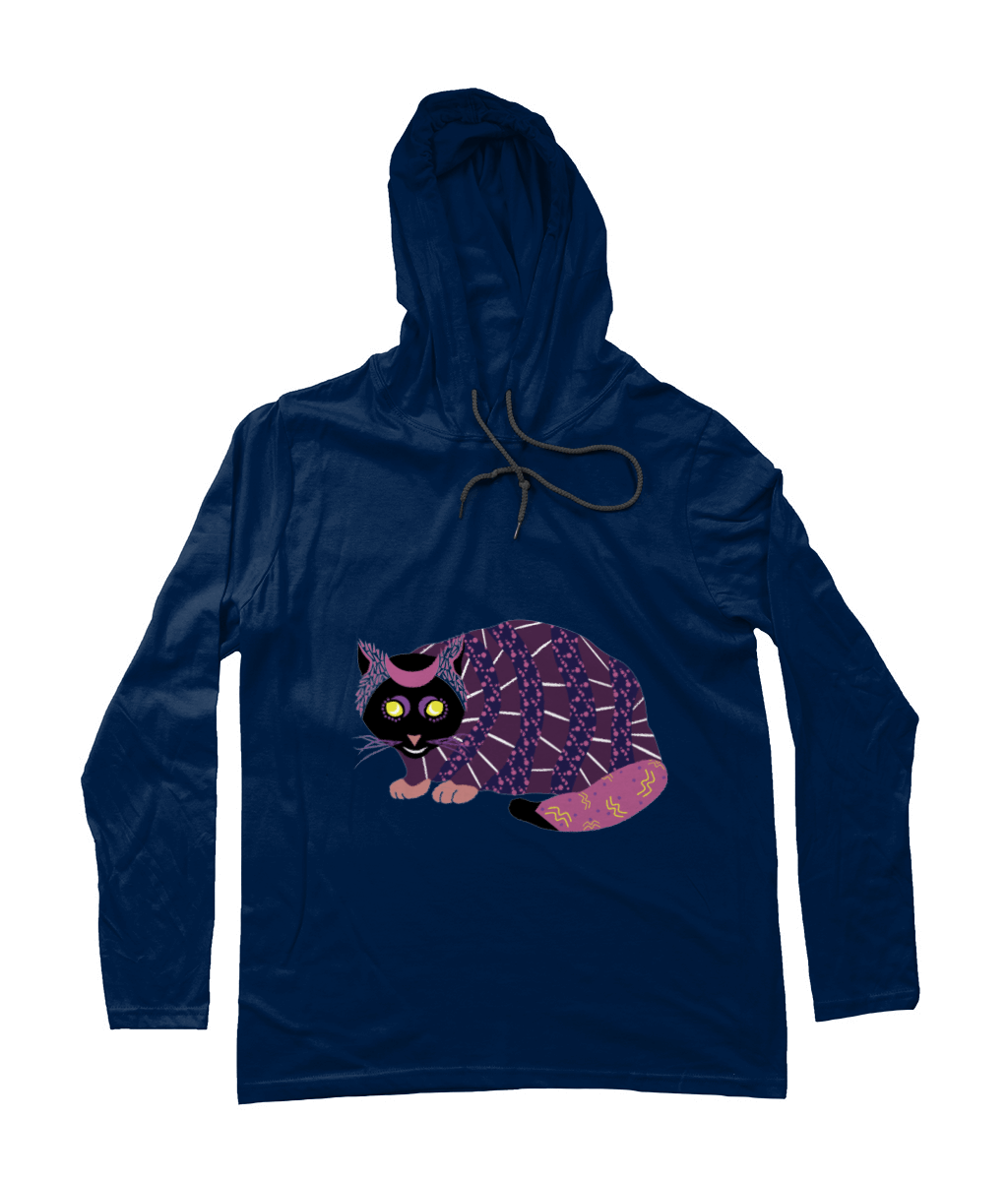 Abstract Cat_Long-Sleeved [NAVY] Hooded Men's T-Shirt