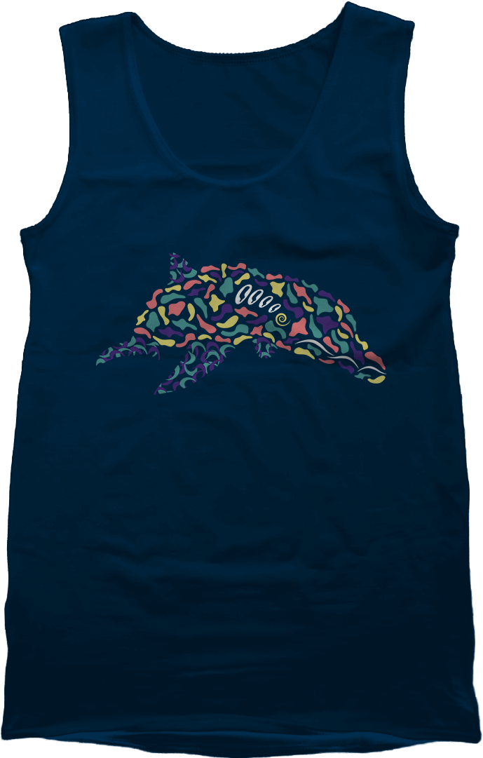 Abstract Dolphin Navy Men's Tank by Daniel Bevis