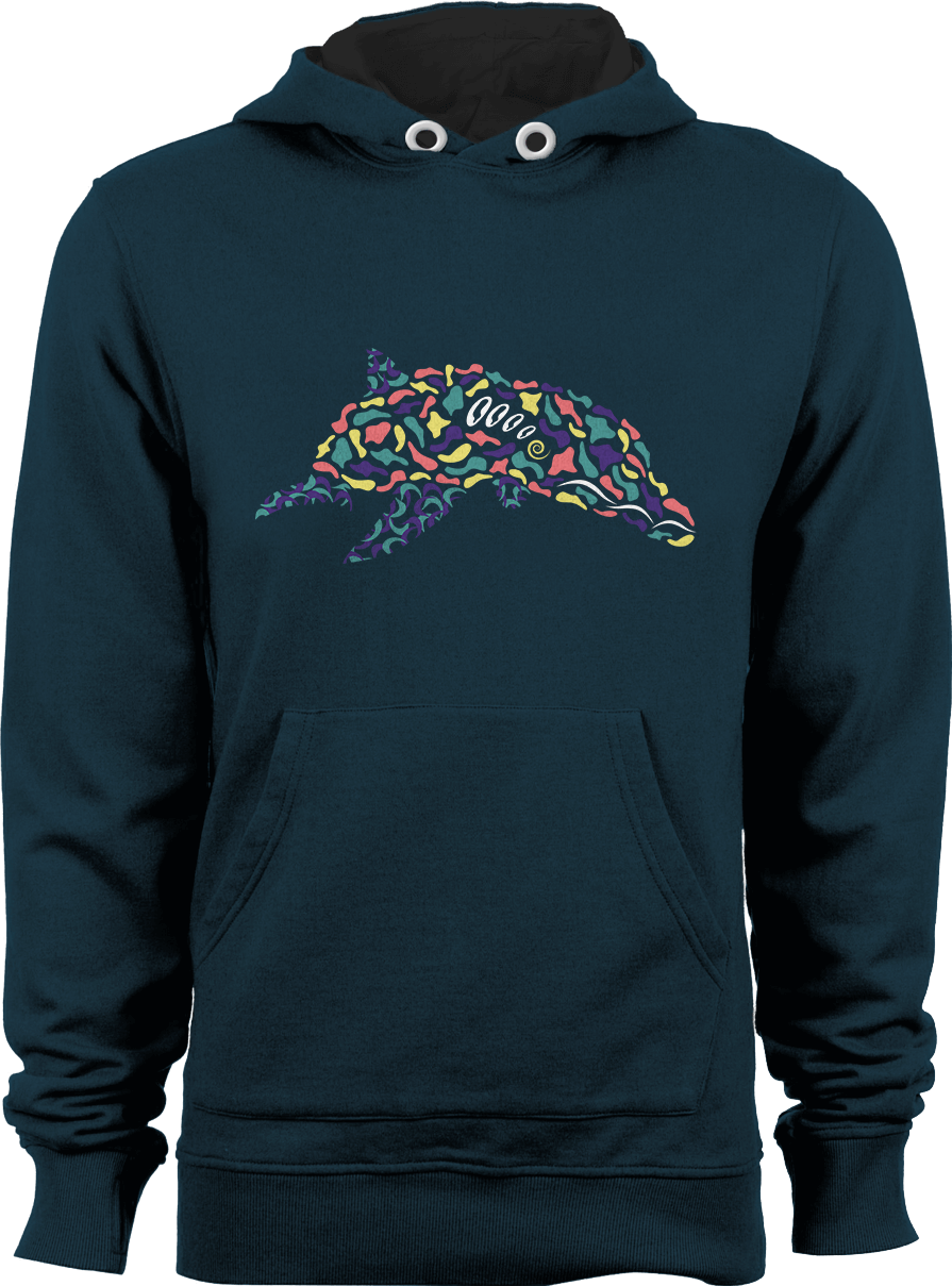 Abstract Dolphin_New French Navy Unisex Hoodie by Daniel Bevis