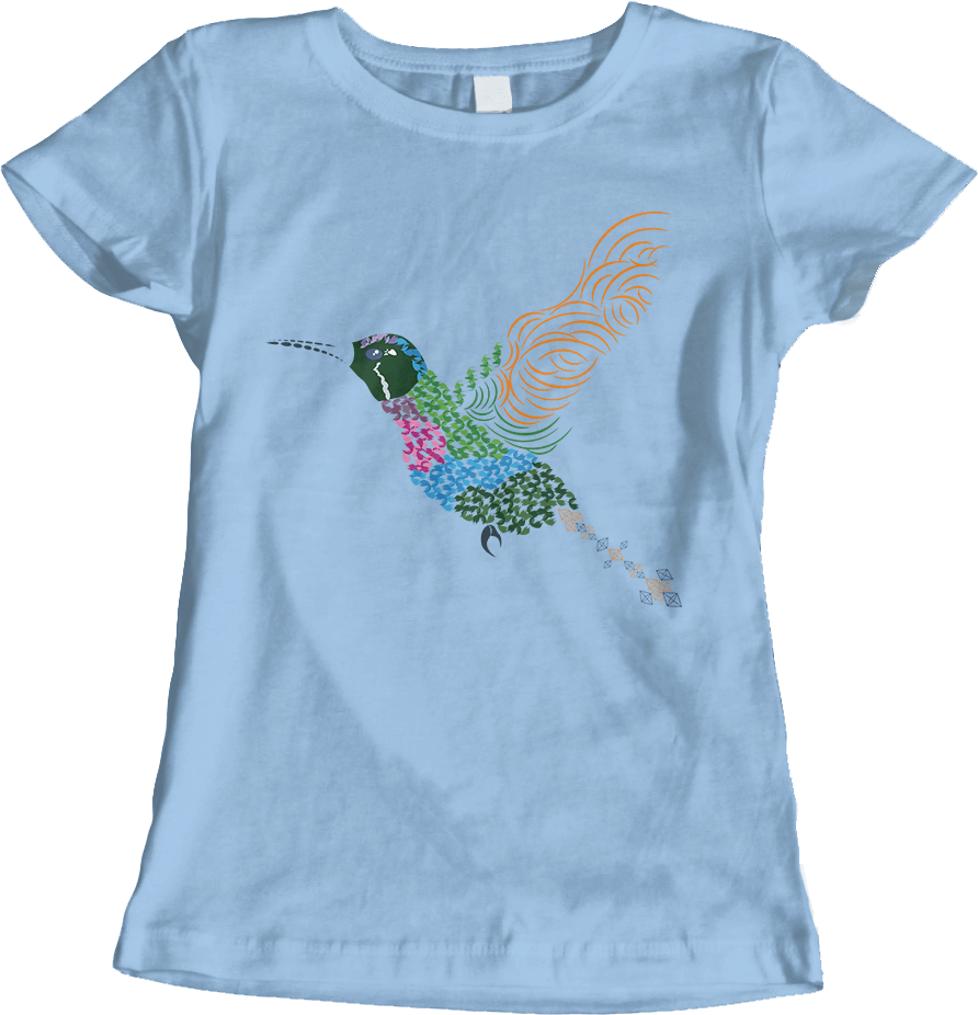 Abstract Hummingbird ~ Garnet-throated Var - Light Blue Women's T-Shirt by Daniel Bevis