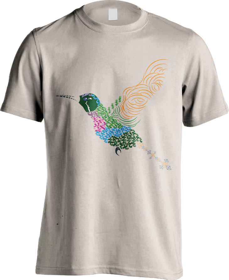 Abstract Hummingbird ~ Garnet-throated Var - Sand Men's T-Shirt by Daniel Bevis