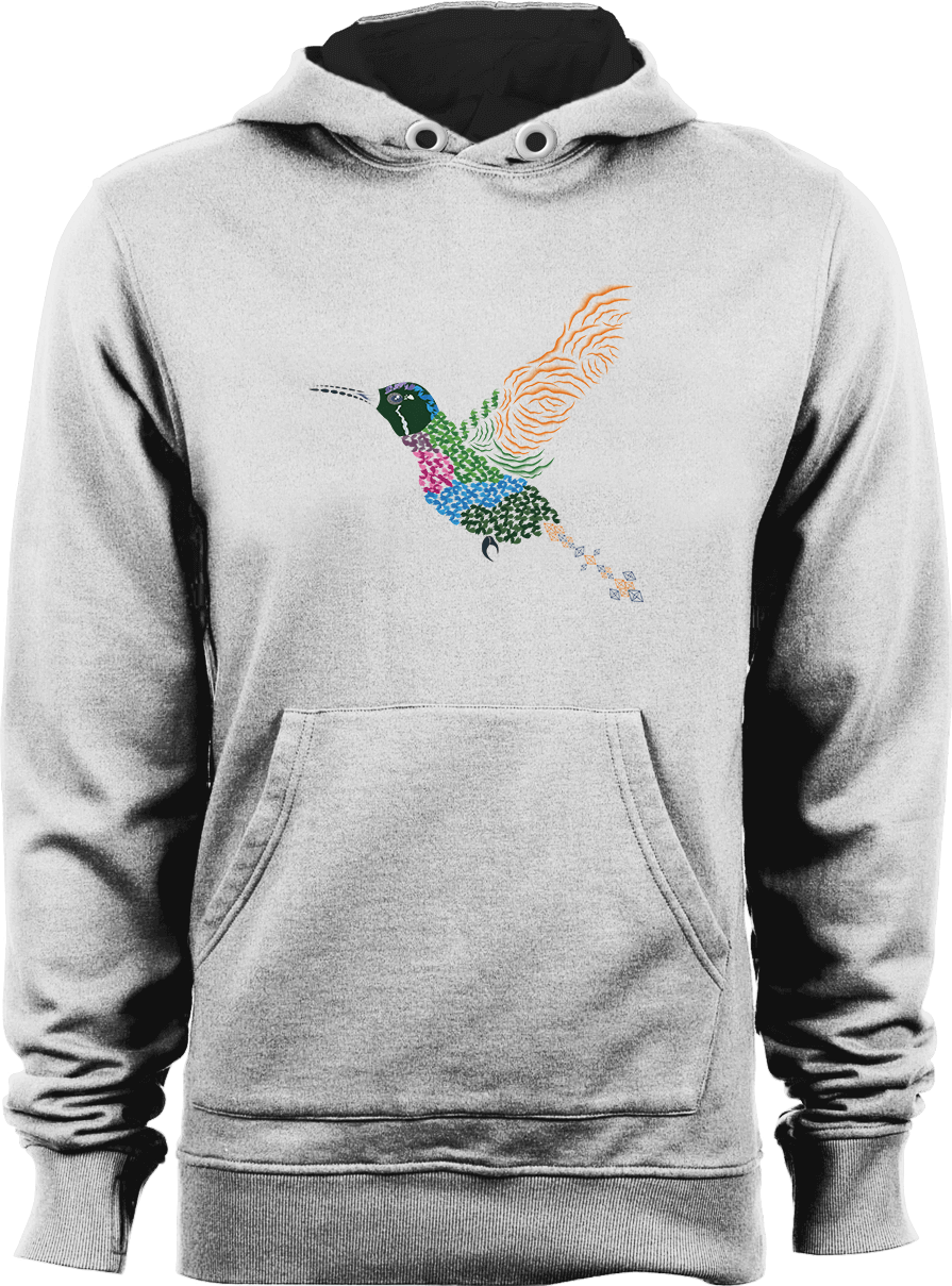 Abstract Hummingbird ~ Garnet-throated Variant_White Unisex Hoodie by Daniel Bevis