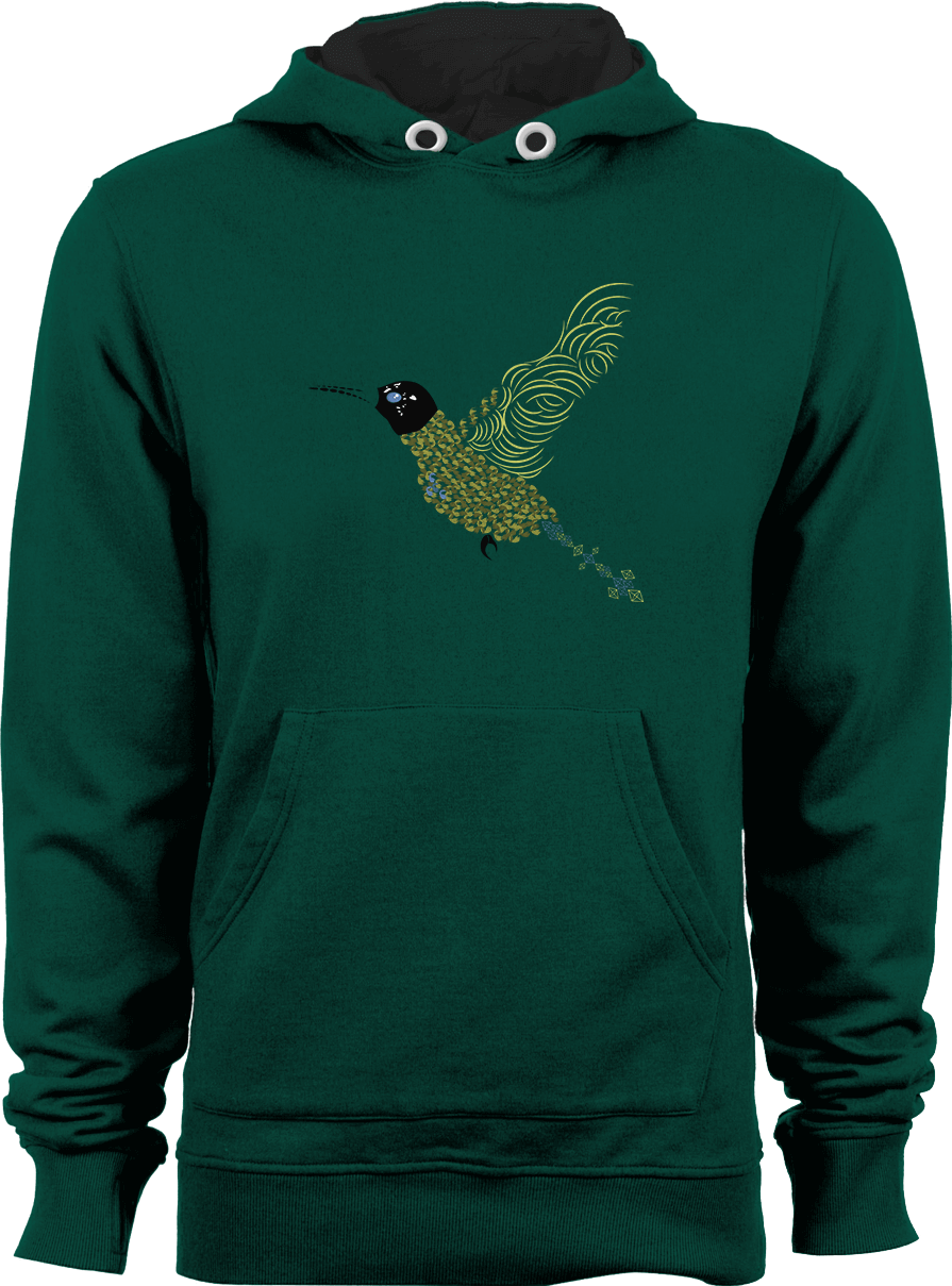 Abstract Hummingbird_Bottle Green Unisex Hoodie by Daniel Bevis