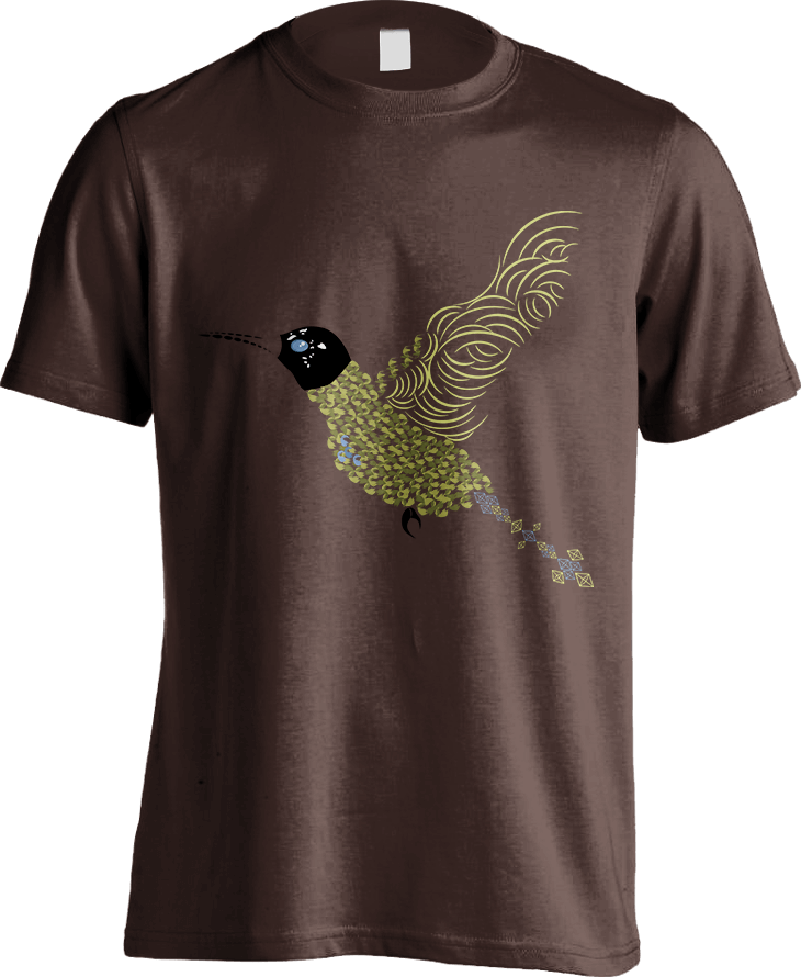 Abstract Hummingbird - Dark Chocolate Men's T-Shirt by Daniel Bevis