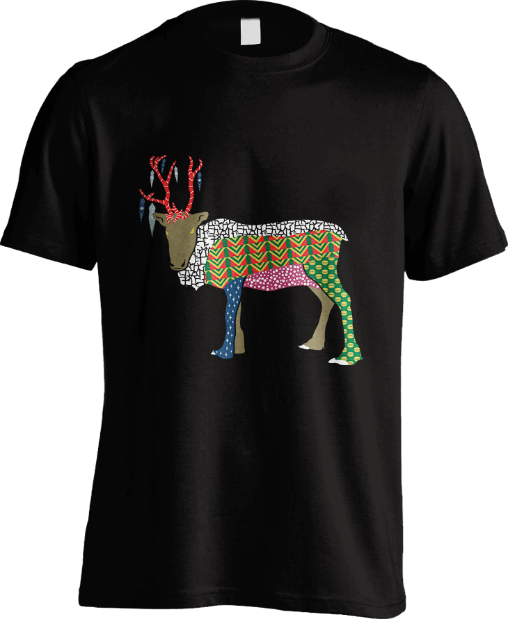 Abstract Reindeer_Black Men's T-Shirt by Daniel Bevis