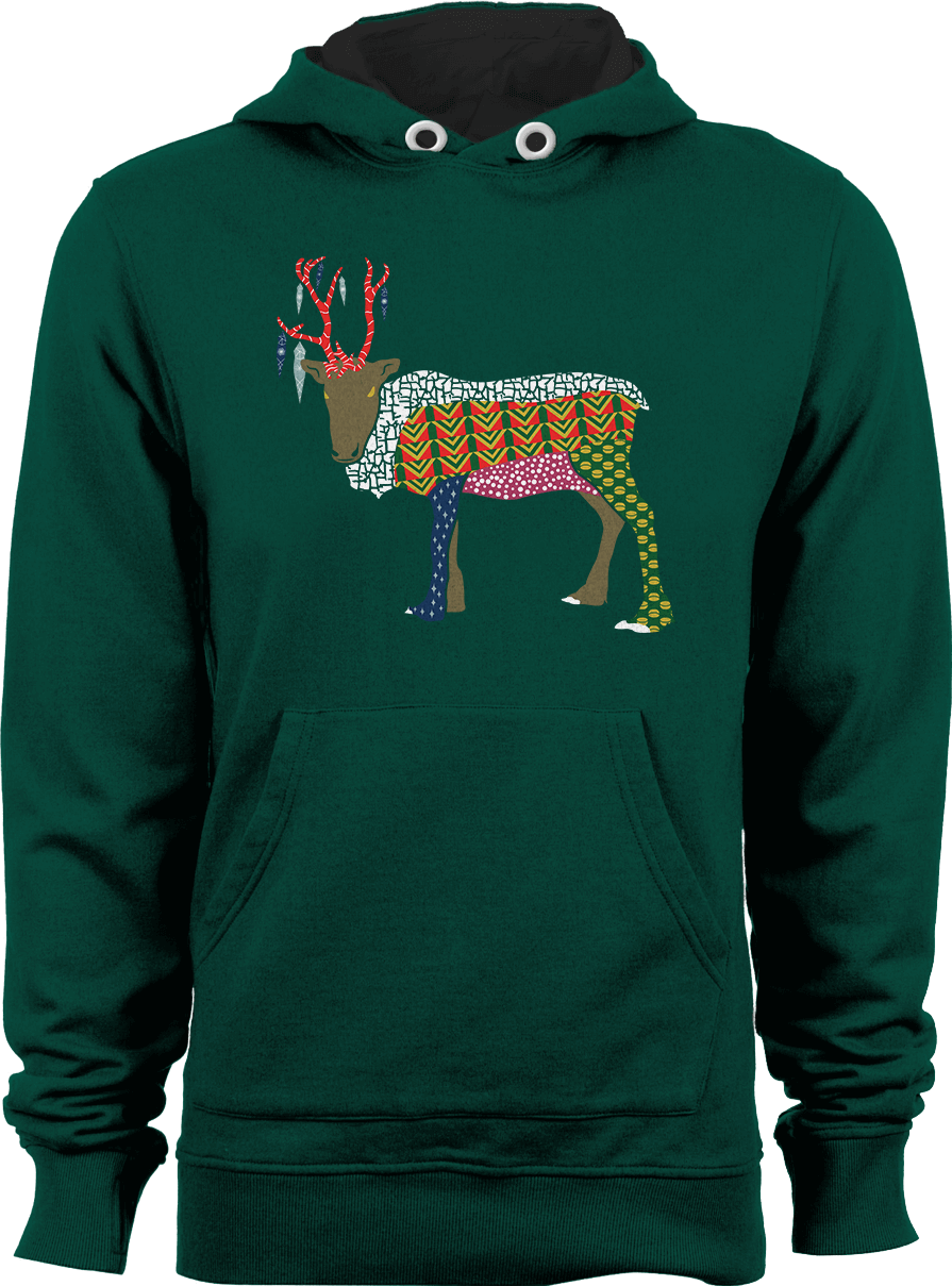 Abstract Reindeer_Bottle Green Unisex Christmas Hoodie by Daniel Bevis