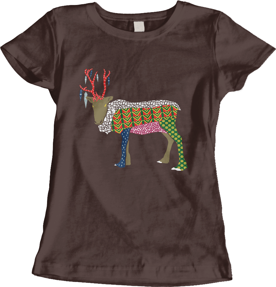 Abstract Reindeer_Dark Chocolate Women's T-Shirt by Daniel Bevis