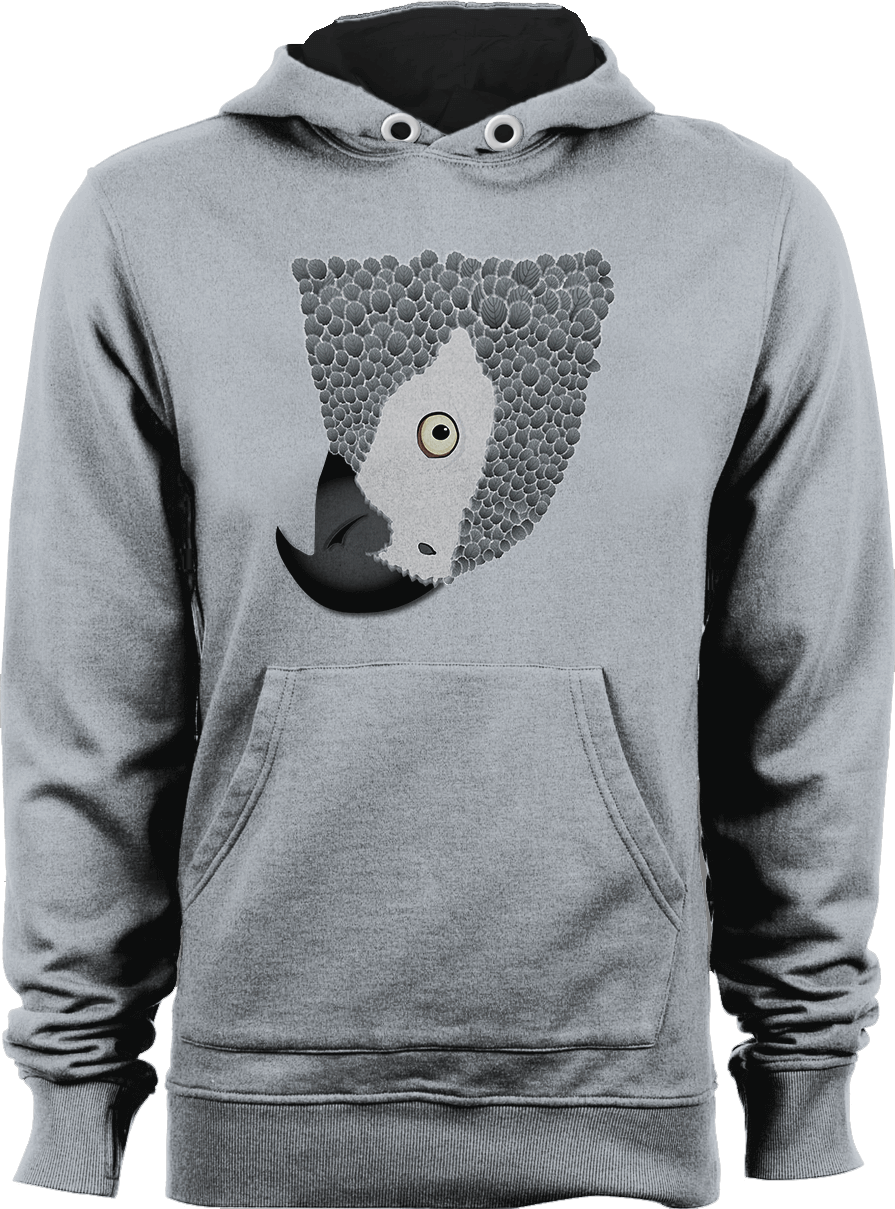 African Grey Parrot_Heather Grey Unisex Hoodie by Daniel Bevis