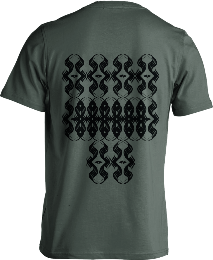All-Seeing Eyes pattern street art - Forest Greenish Grey [Back Print] Men's T-Shirt by Daniel Bevis