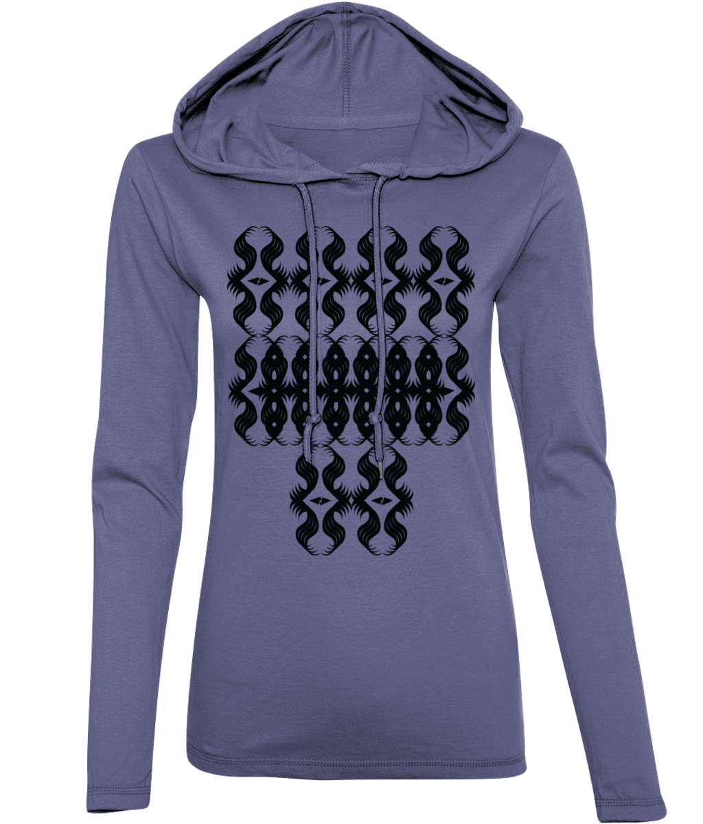 All-Seeing Eyes Long-Sleeved [Heather Blue, Front Print] Hooded Women's T-Shirt