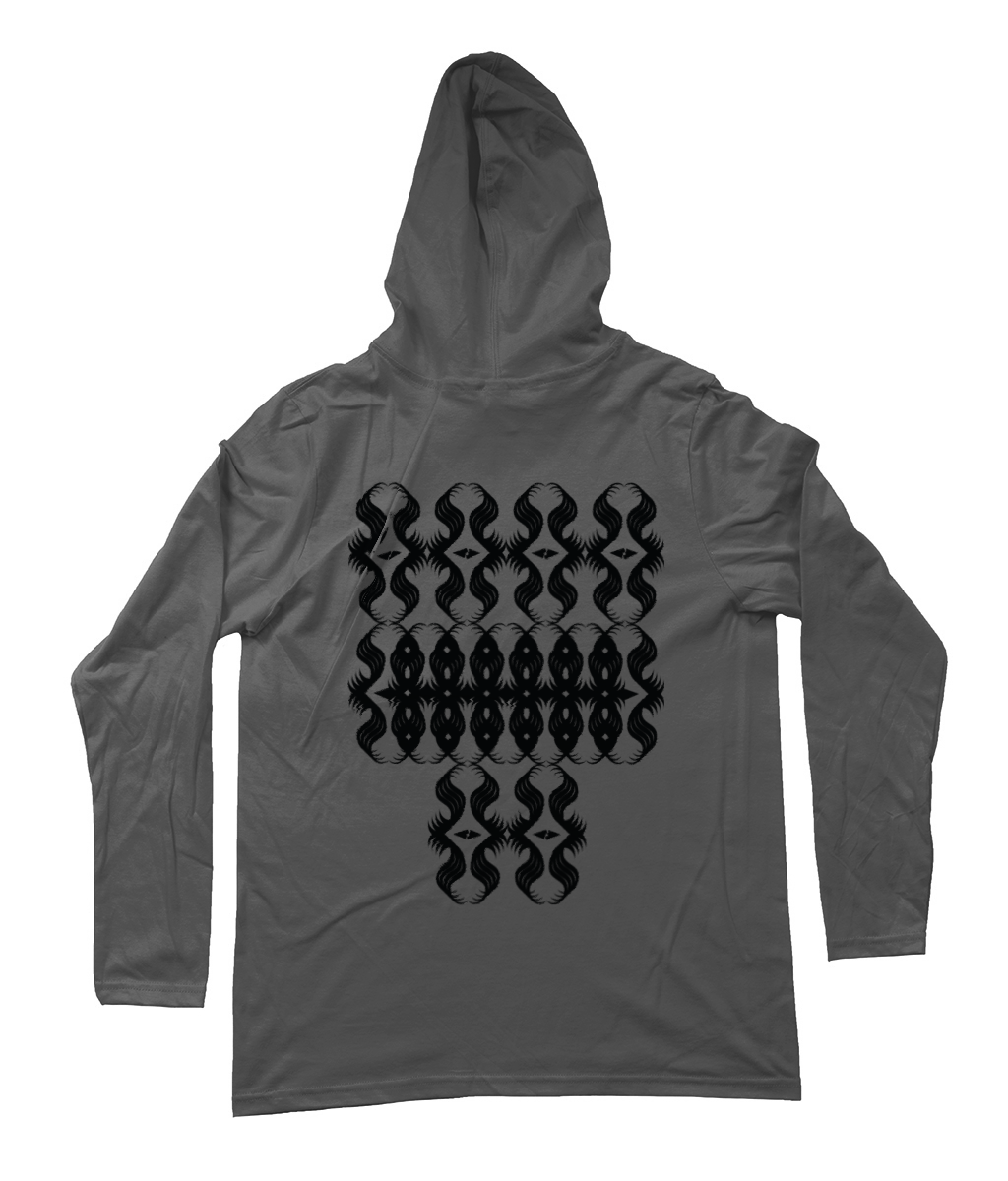 All-Seeing Eyes_Long-Sleeved [Heather Grey, Back Print] Hooded Men's T-Shirt