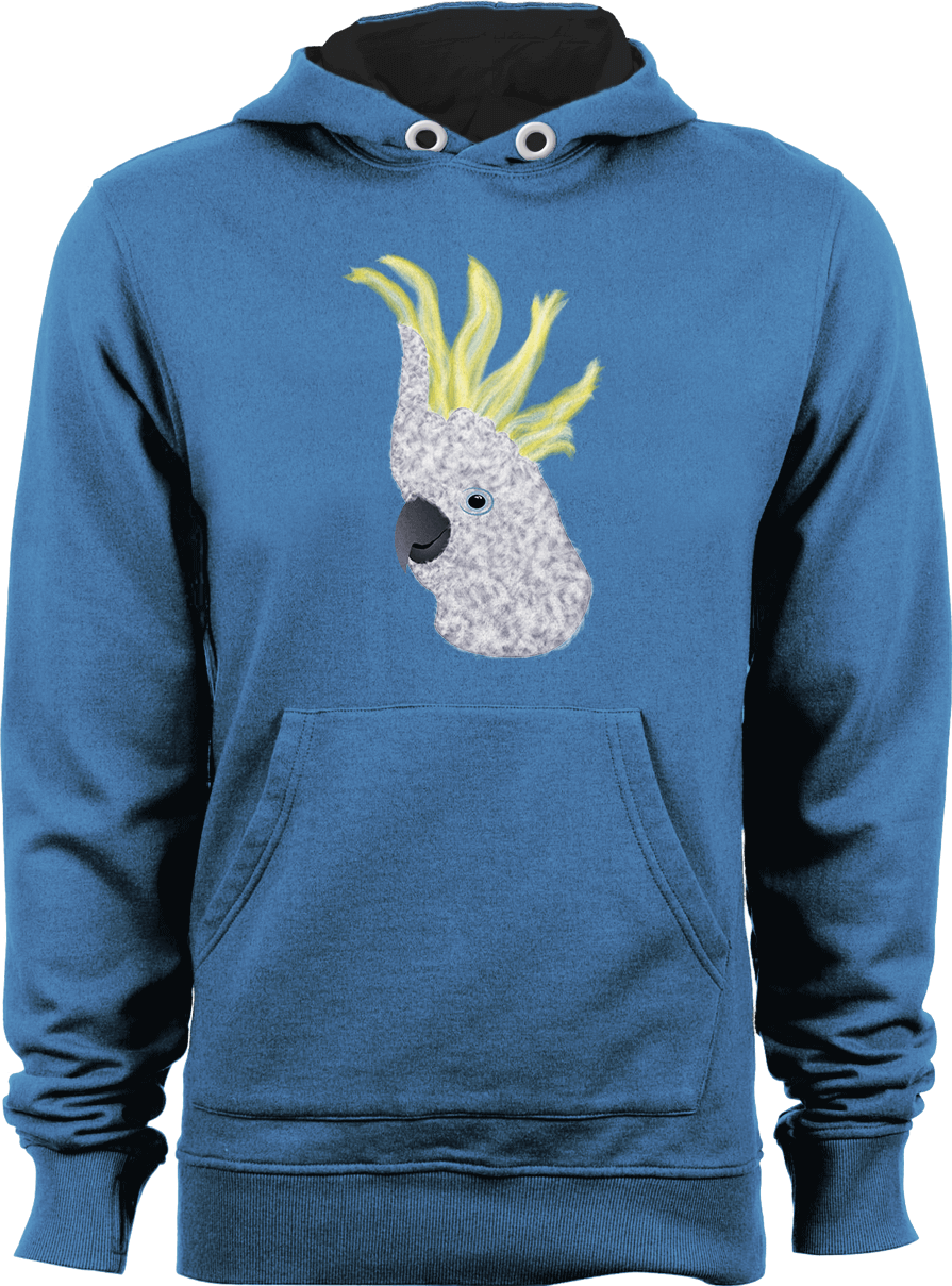 Sulphur-crested Cockatoo Parrot - Airforce Blue Unisex Hoodie by Daniel Bevis