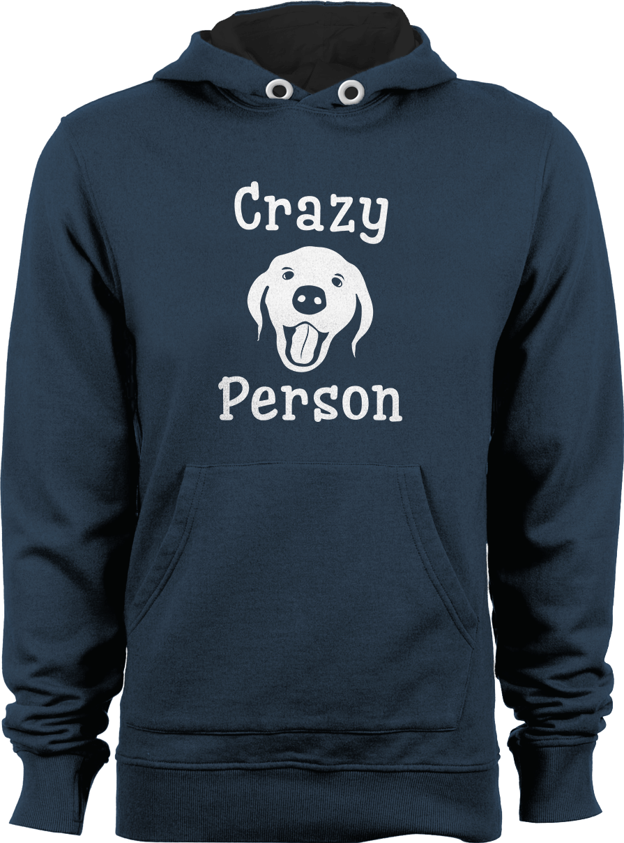 Crazy Dog Person_Storm Grey Unisex Hoodie by Daniel Bevis