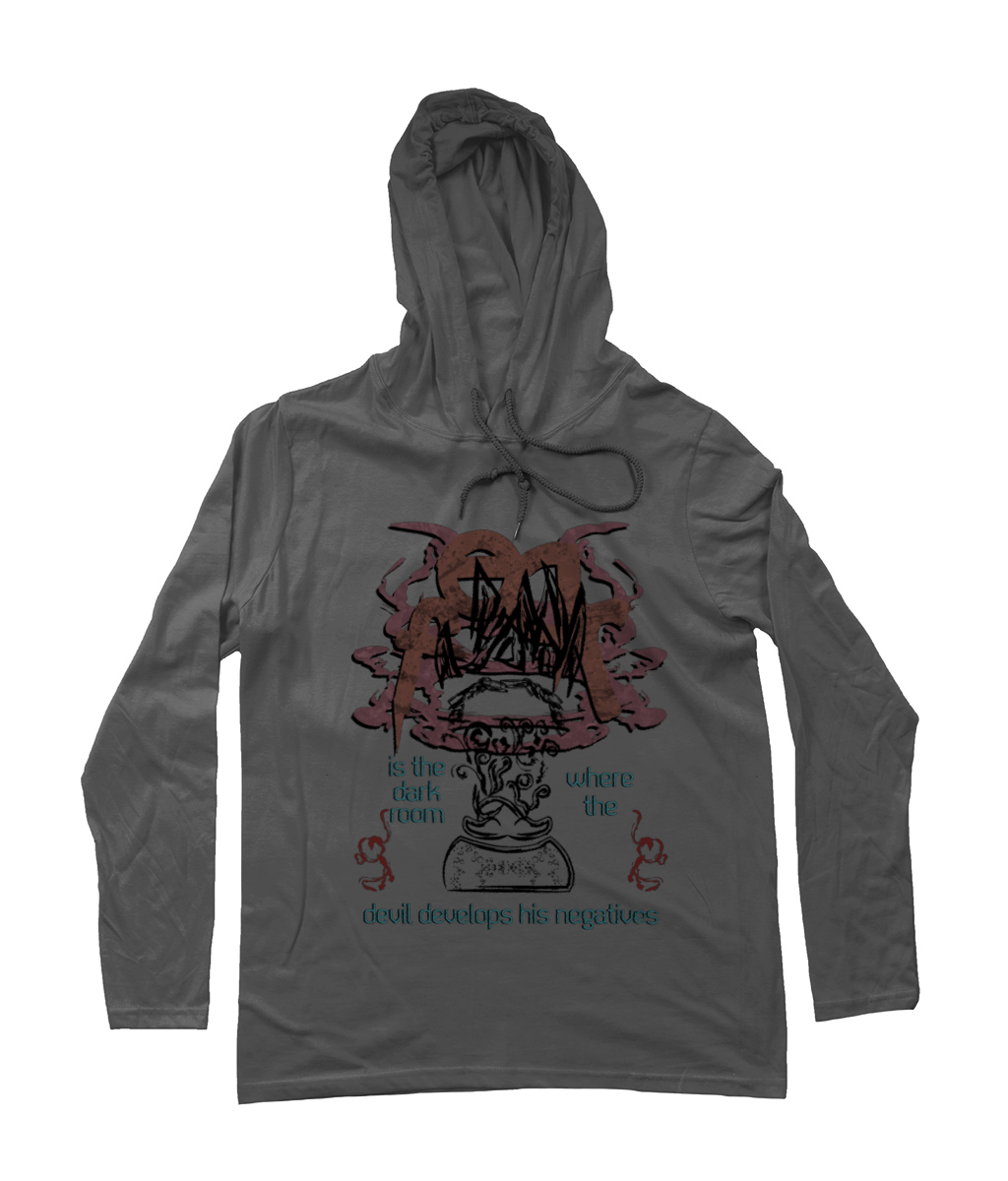 FEAR_Long-Sleeved [Heather Grey, Front Print] Hooded Mens T-Shirt