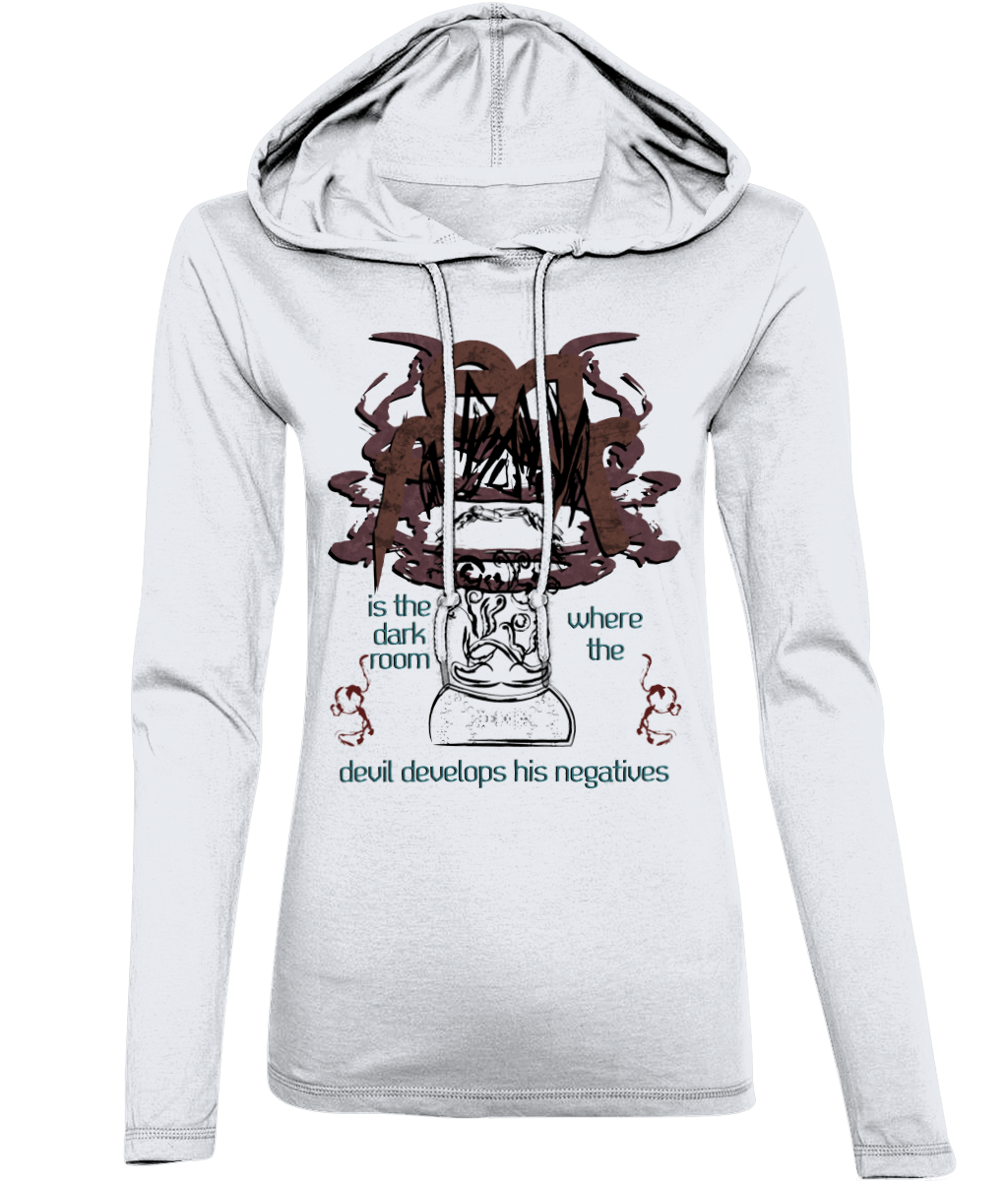 FEAR_Long-Sleeved [White, Front Print] Hooded Womens T-Shirt