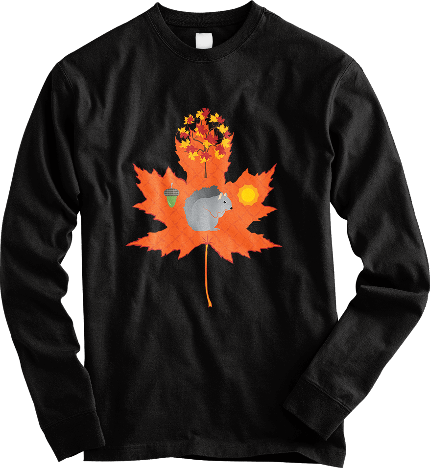 Grey Squirrel Autumn Pattern - Long Sleeve [Women's] T-Shirts Thumbnail