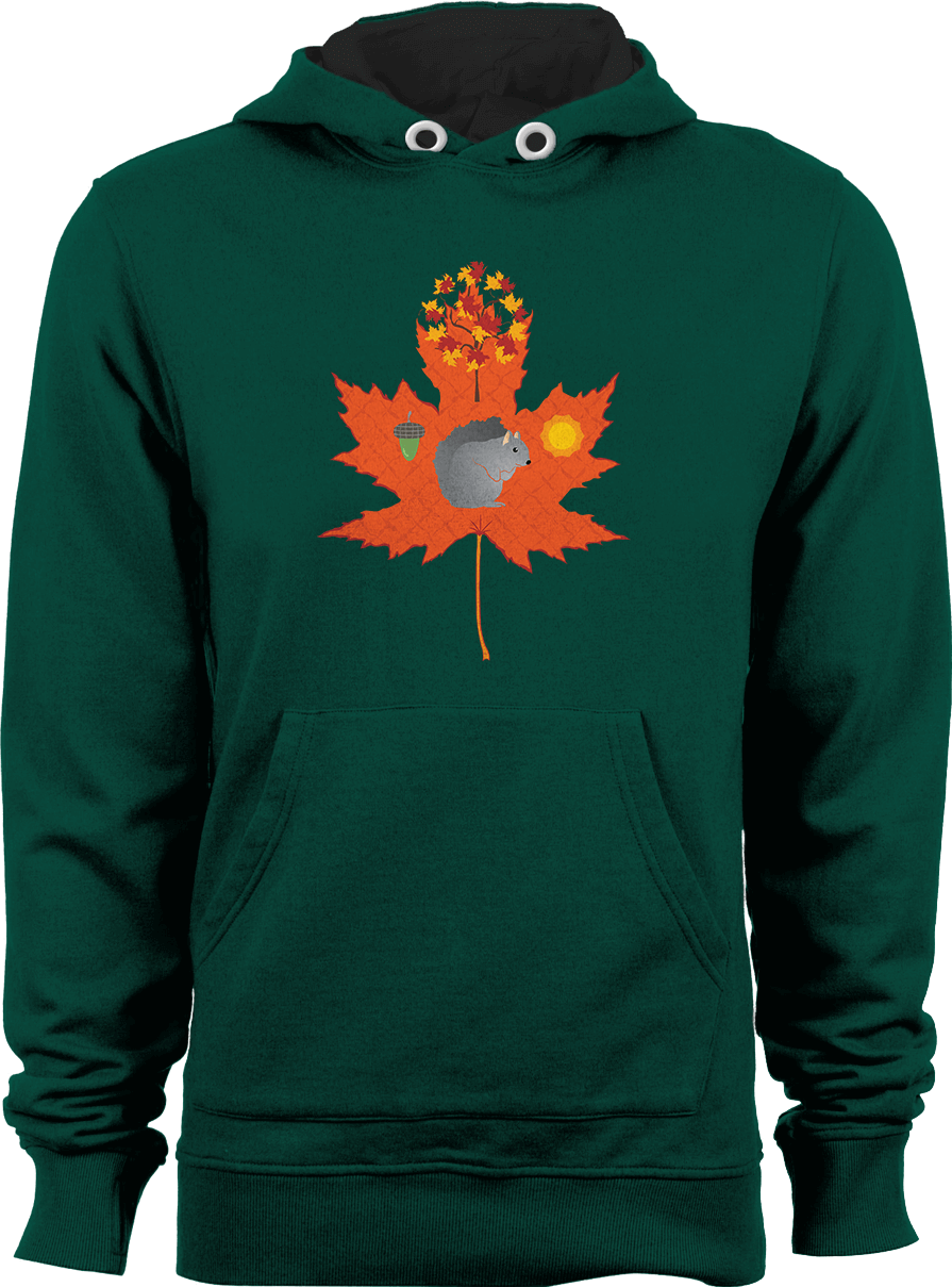 Grey Squirrel Autumn / Fall Pattern - Bottle Green unisex hoodie by Daniel Bevis