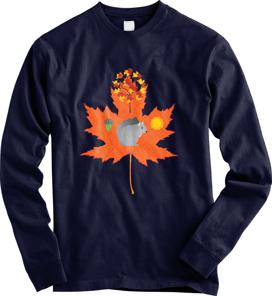 Grey Squirrel Autumn / Fall Pattern - Navy Long Sleeve Men's T-Shirt by Daniel Bevis