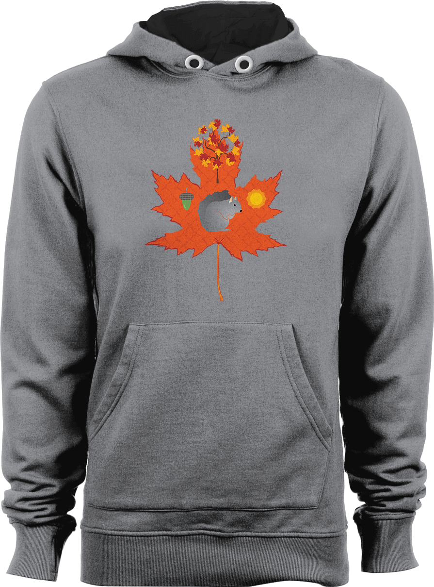 Grey Squirrel Autumn Pattern Hoodie Thumbnail