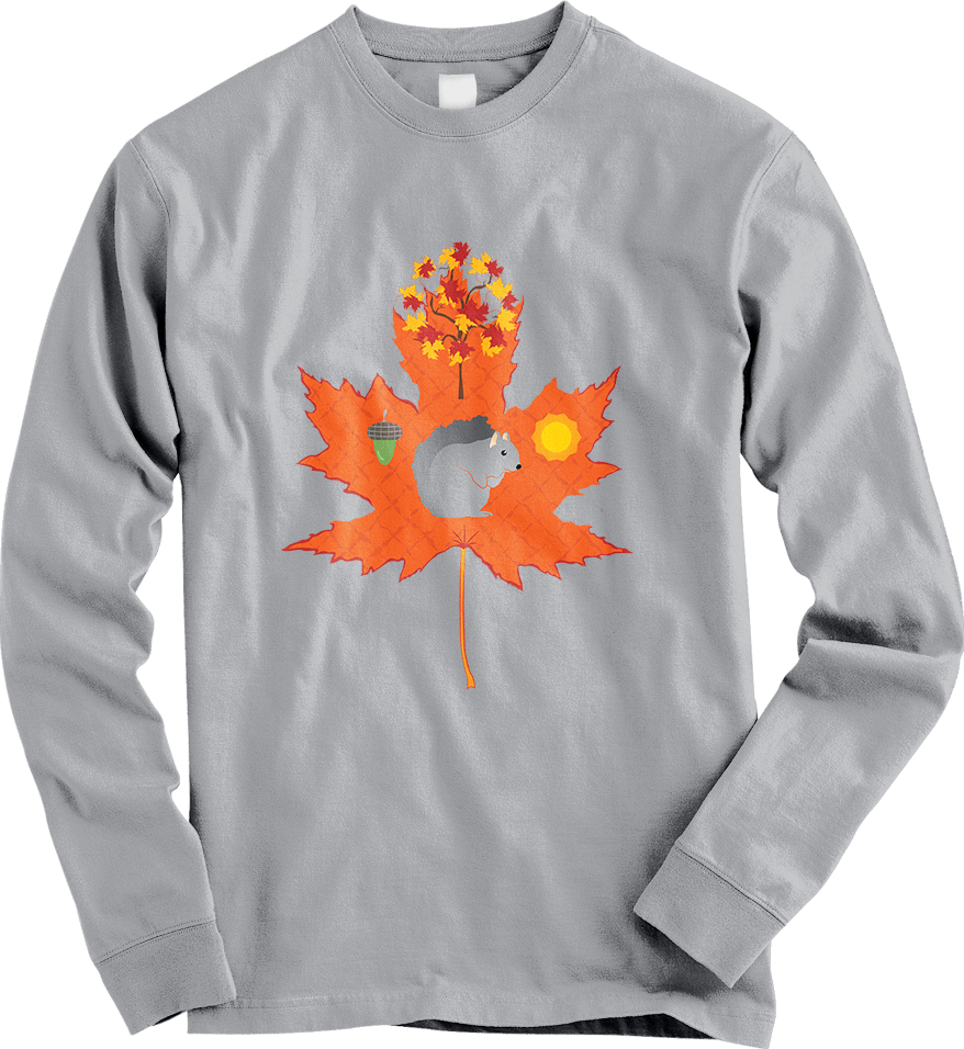 Grey Squirrel Autumn / Fall Pattern - Sport Grey Long Sleeve Women's T-Shirt by Daniel Bevis