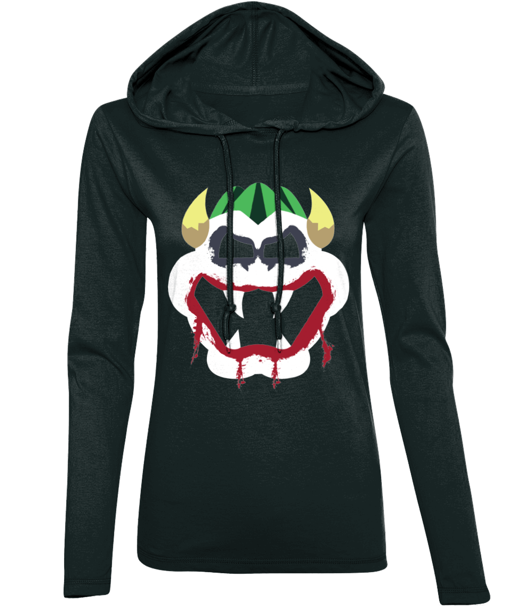 Joke's On You Bowser_Long-Sleeved [BLACK] Hooded Womens T-Shirt