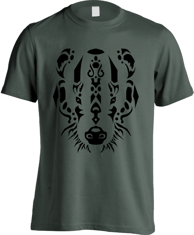 Tribal Badger - Forest [Greyish Green] Men's T-Shirt by Daniel Bevis