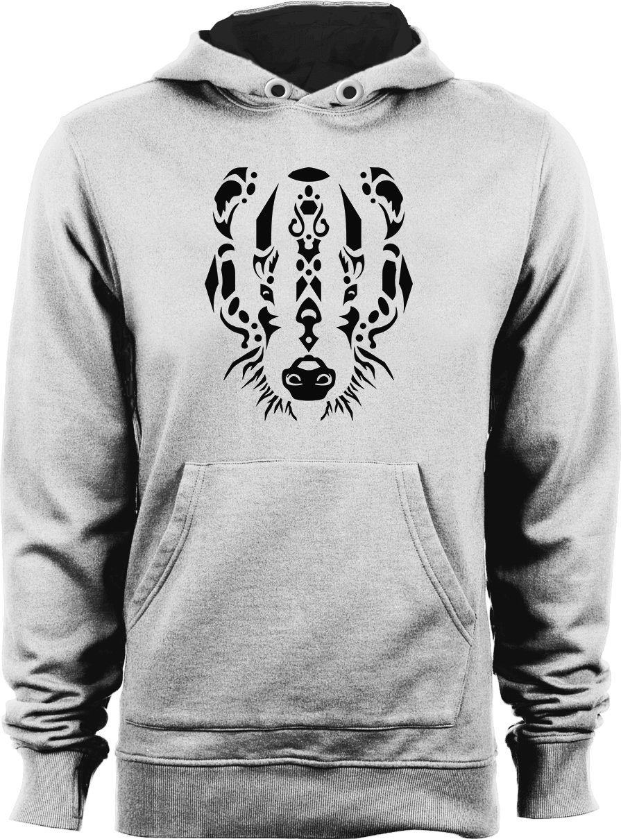 Tribal Badger - White Unisex Hoodies by Daniel Bevis
