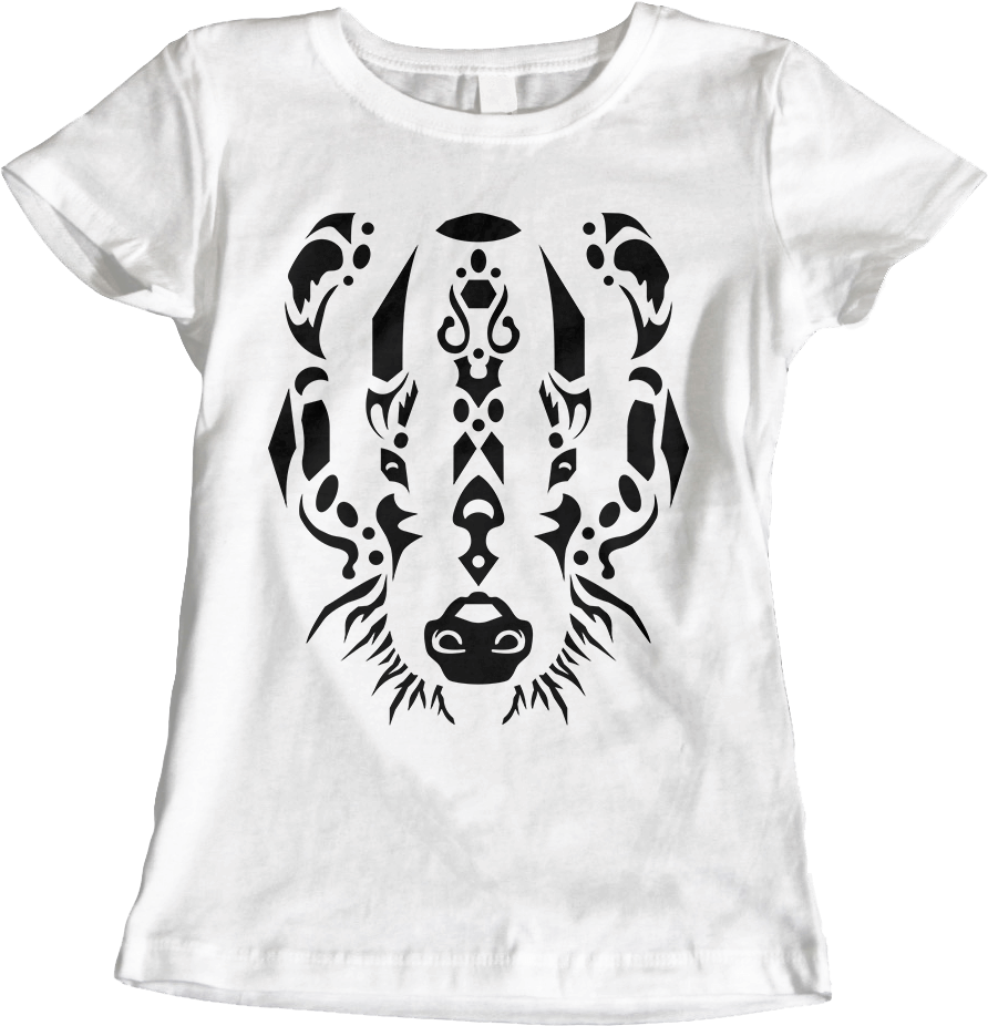 Tribal Badger - White Women's T-Shirt by Daniel Bevis