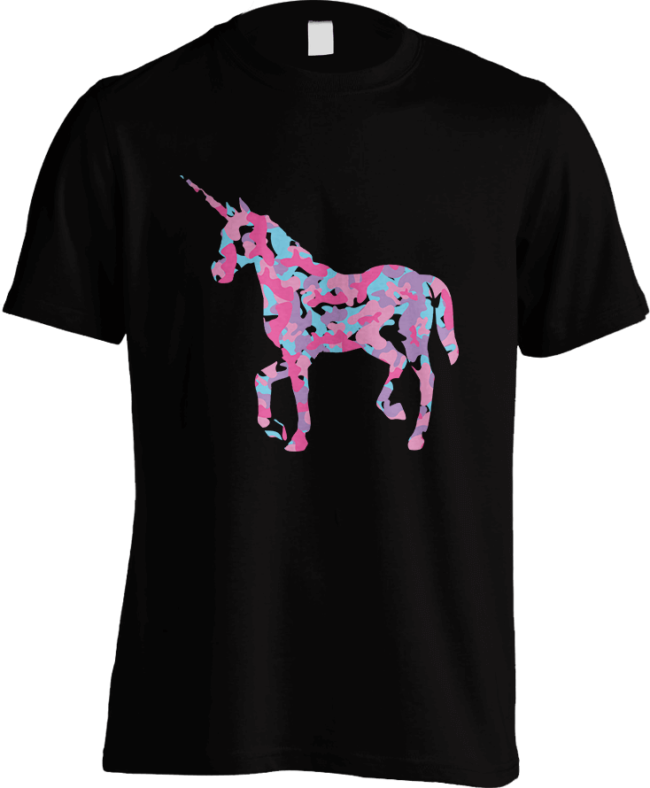 Unicorn's Breakfast [Camo Pattern]_Black Men's T-Shirt by Daniel Bevis