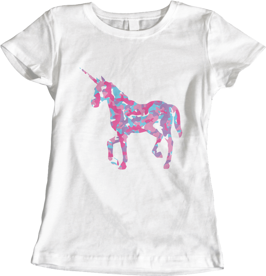 Unicorn's Breakfast [Camo Pattern]_White Women's T-Shirt by Daniel Bevis