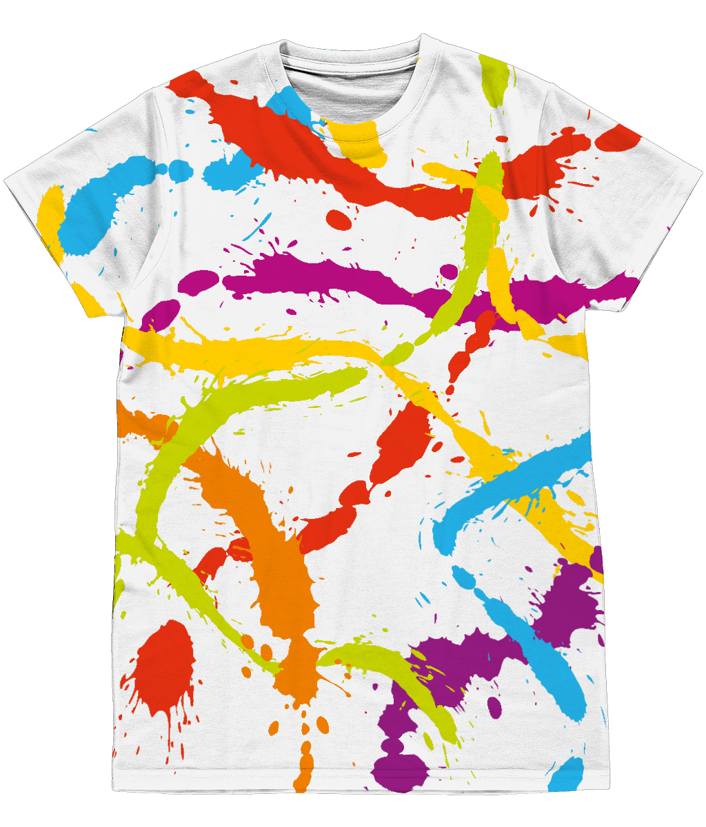 Splattered Rainbow [WHITE] Unisex All-Over Sublimation Tee [FRONT] by Daniel Bevis