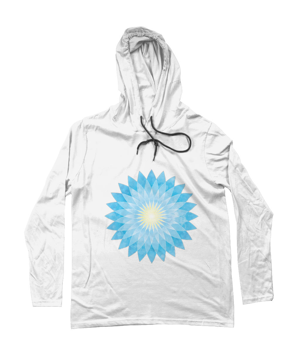 Lotus Flower Mandala - Unisex [WHITE] Long Sleeve Hooded T-Shirt