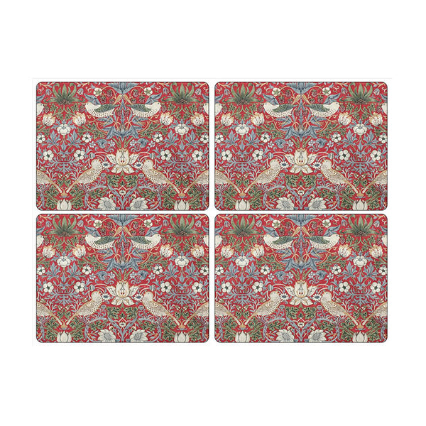 Morris and Co for Pimpernel Strawberry Thief Red Large Placemats Set of 4