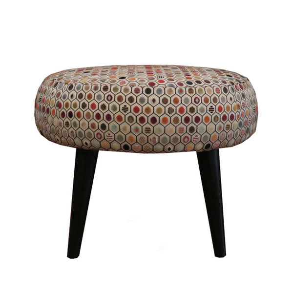 Midi Meringue Stool in  Osborne & Little Gloriana Pelangi Velvet Terracotta Fabric