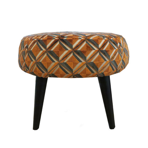 Midi Meringue Stool in Osborne & Little Gloriana Amelia Mandarin Charcoal Fabric