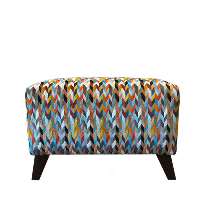 Beetle Footstool in Osborne & Little Gloriana Felicia Terracotta Teal Gold Fabric