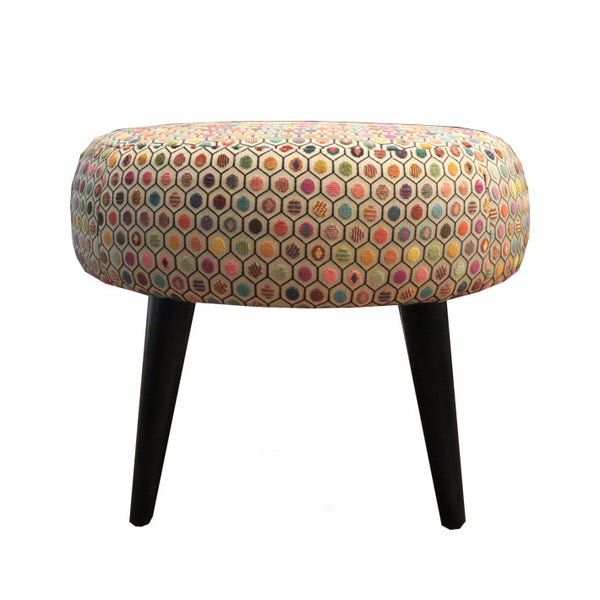 Midi Meringue Stool in Osborne & Little Gloriana Pelangi Velvet Multi Fabric
